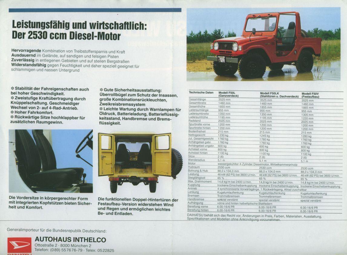Daihatsu Wildcat Brochure Charade Workshop Manual Free Download