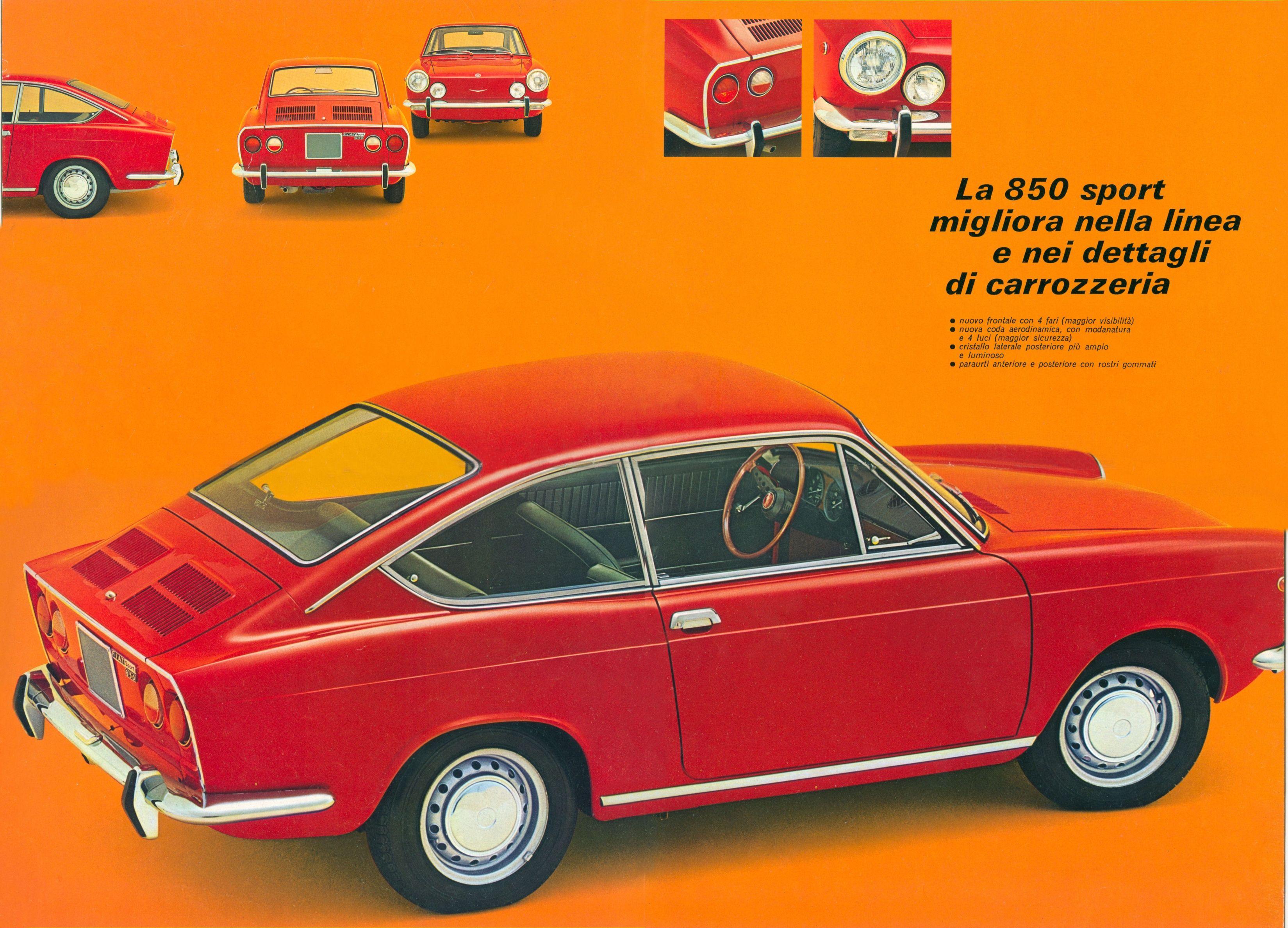 1965 73 fiat 850 sport coupe brochure. Black Bedroom Furniture Sets. Home Design Ideas