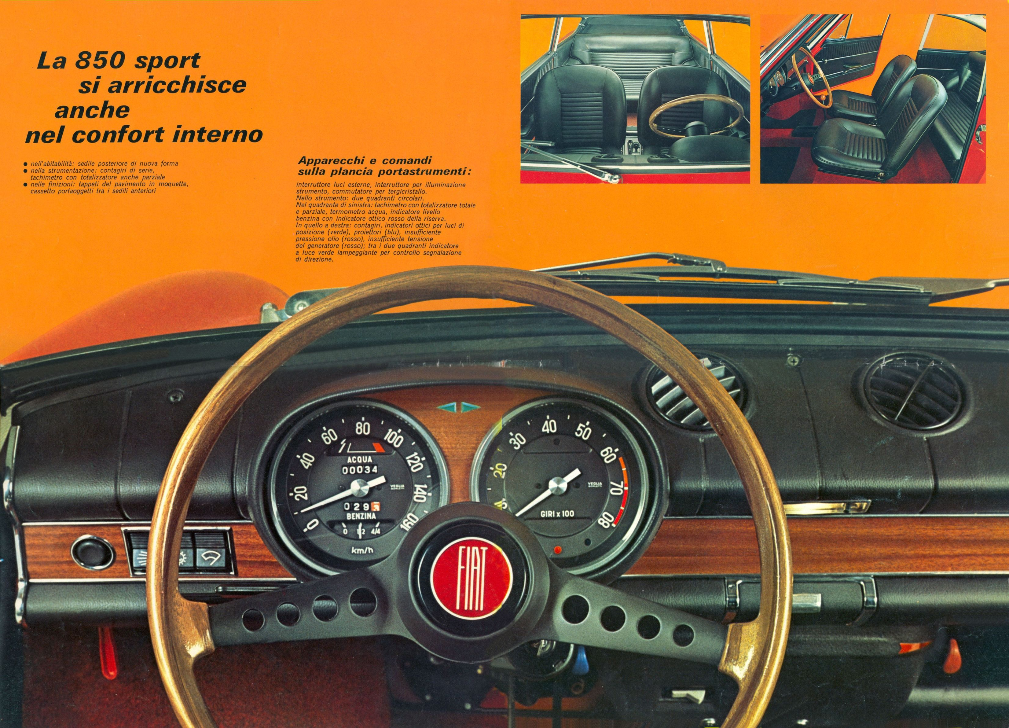 1965 73 fiat 850 sport coupe brochure for Interieur 65